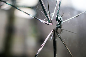 Smashed window in a property